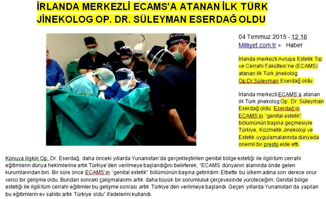 ECAMS genital estetik bölüm başkanı Dr.. Süleyman Eserdağ