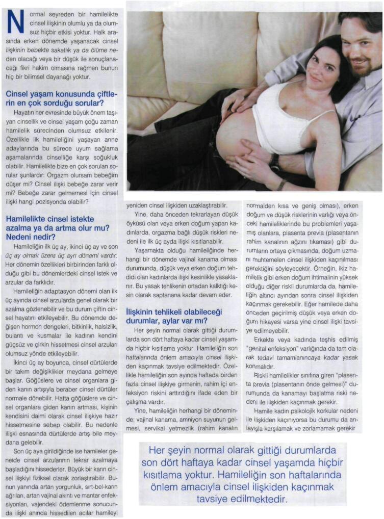 Hamilelikte Cinsel Iliski